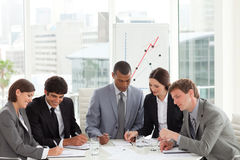 High angle of a diverse business group royalty free stock image