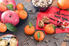 High Angle Film of New Year`s Fruit Tray royalty free stock images