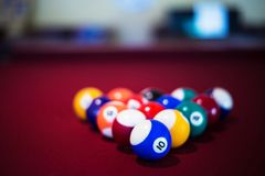 A snooker balls and table in a high angle view. High angle/front view, of a snooker balls and table. Lifestyle, hobby, sports, leisure, competition royalty free stock image