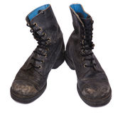 Isolated Used Army Boots - High Angle Frontal Stock Photos