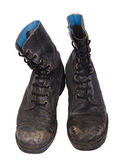 Isolated Used Army Boots - High Angle Frontal Stock Photo