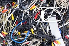 Close-up of different tangled cables and wires Royalty Free Stock Images