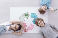 High angle of happy kids royalty free stock photo