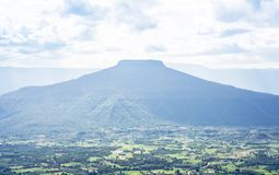 Landscape view of Phu hor with looks like similar Mt.Fuji mountain is famous travel destination of Loei from. High angle landscape view of Phu hor with looks stock photo