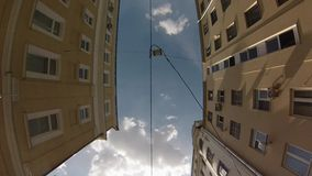 High-angle motion jib view of old city center Royalty Free Stock Images