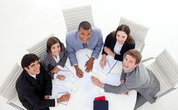 High angle of multi-ethnic business people Royalty Free Stock Photos