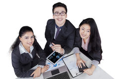 High angle of multiracial employees Stock Images