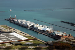 High angle navy pier. High angle looking down on Navy Pier royalty free stock photography
