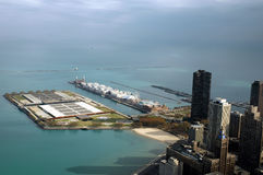 High angle navy pier. High angle looking down on Navy Pier Stock Photo