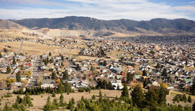 High Angle Overlook Walkerville Butte Montana Downtown United St. The hillside home and downtown of Butte Montana with winter setting in stock photo