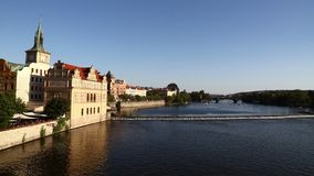 View of Prague old town and Vltava river sunny day stock video