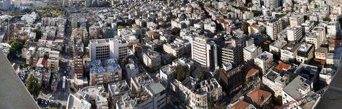 Tel-Aviv Cityscape Panorama. High angle panoramic view of Tel-Aviv's buildings Royalty Free Stock Photography