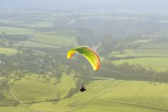 High angle paragliding scenery Stock Images