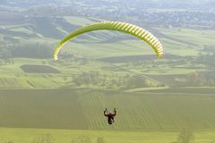 High angle paragliding scenery Stock Photos