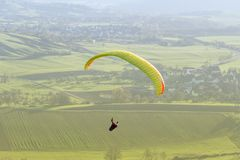 High angle paragliding scenery Royalty Free Stock Photos