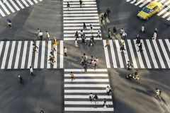 High angle of people across the crosswalk Royalty Free Stock Photos