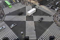 High angle of people across the crosswalk Stock Photo