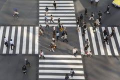High angle of people across the crosswalk Stock Photography
