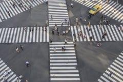High angle of people across the crosswalk Stock Photos
