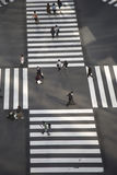 High angle of people across the crosswalk Stock Images