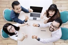 High angle photo of Asian business people stock photography