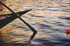High Angle Photo of Brown Boat Paddle Royalty Free Stock Photos