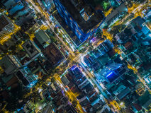 High Angle Photo of City Skylines during Nighttime Stock Image