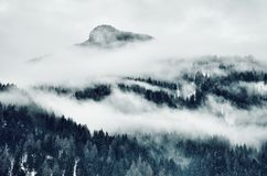 High Angle Photo of Mountain Cover With Clouds royalty free stock photos