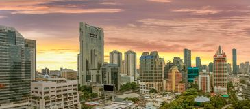 High angle photo At sunrise sky blue Suthat  Bangkok, 22 September 2017. High angle photo At sunrise sky blue Suthat Stock Photo