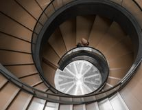 High-angle Photography of Brown Spiral Stair stock photos