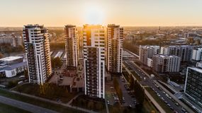 High Angle Photography of High-rise Buildings Near Road during Golden Hour Royalty Free Stock Images