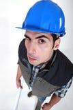 High angle picture of foreman. Funny high angle picture of foreman Royalty Free Stock Images
