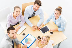 High angle portrait of business people at table Stock Photo