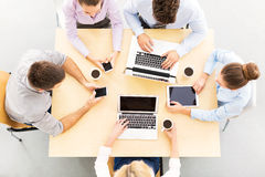 High angle portrait of business people at table Royalty Free Stock Images