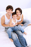 High angle portrait of the happy family Royalty Free Stock Image