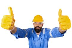 Free High Angle Portrait Of Handsome Hipster Bearded Builder In Hard Hat And Transparent Safety Glasses Raising Two Thumbs Up In Stock Photography - 143564592