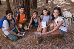 High angle portrait of teacher and students kneeling by tree stump Royalty Free Stock Image