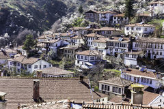 High angle rooftop view of traditional houses in Goynuk town center. Stock Images
