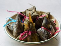High angle shot of Asian rice dumplings Zongzi stock photography