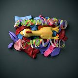 Plucked turkey, streamers and balloons Stock Images