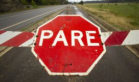 Free High Angle Shot Of A Red Damaged PARE Sign On The Road Royalty Free Stock Image - 192620756