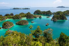 Free High Angle Shot Of Piaynemo Natural Park In The Ocean Captured In Raja Ampat, Fam Islands Stock Photography - 181431082
