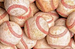 High angle shot of a pile of old used baseballs, tp view, high, angle, overhead royalty free stock images