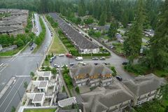 High Angle shot of a Street in Canada Stock Images