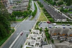 High Angle shot of a Street in Canada Stock Photography
