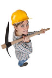 High-angle shot of a tradeswoman Stock Image