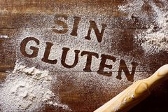 Text gluten free written in spanish Royalty Free Stock Image