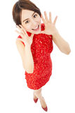 High angle shot of  young woman with cheongsam Stock Photography