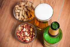 High Angle Still Life View of Glass of Cold Ale, Bottle of Beer, Royalty Free Stock Image