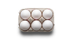 High angle studio shot of six white eggs in a box Stock Photo